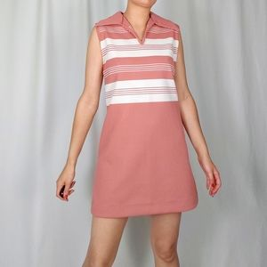 70's ribbed knit collared dress